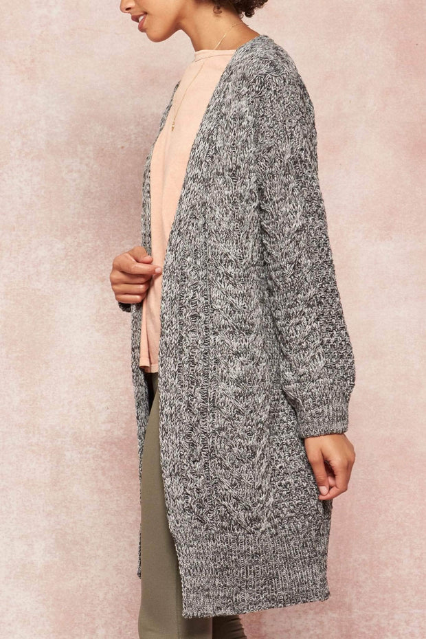 Wuthering Heights Two-Tone Cable Knit Cardigan