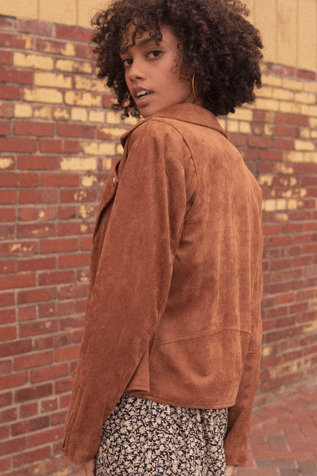 Fully Loaded Vegan Suede Motorcycle Jacket - ShopPromesa