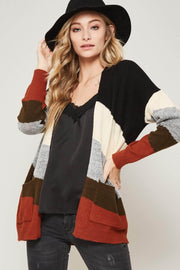 Right Stripes Colorblock Open-Front Cardigan - ShopPromesa