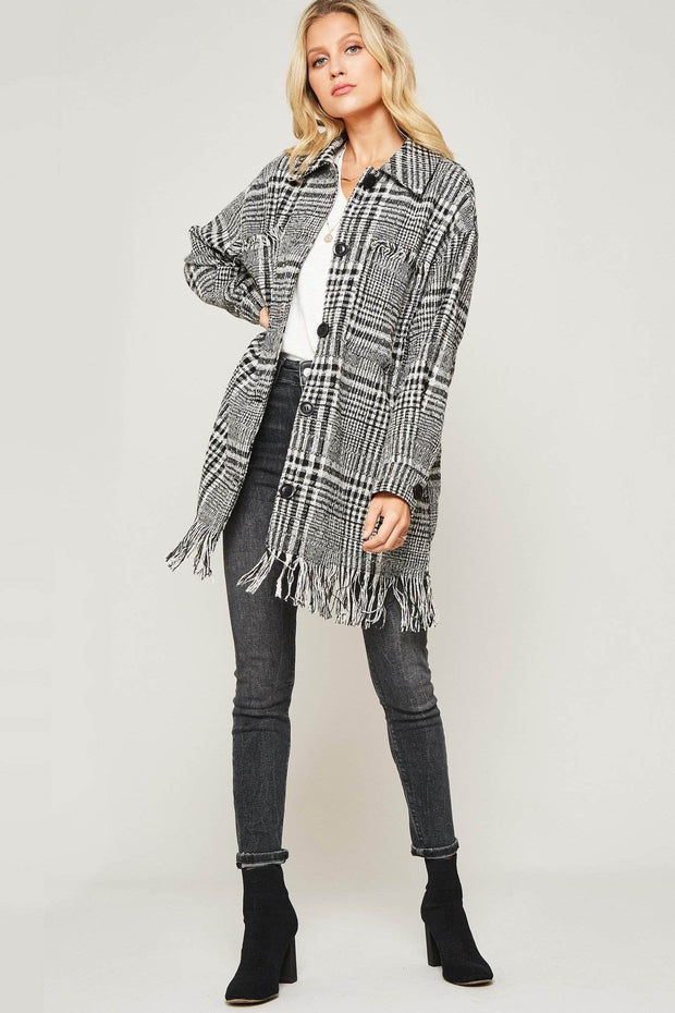 Fringe Benefits Plaid Button-Front Fringed Coat - ShopPromesa