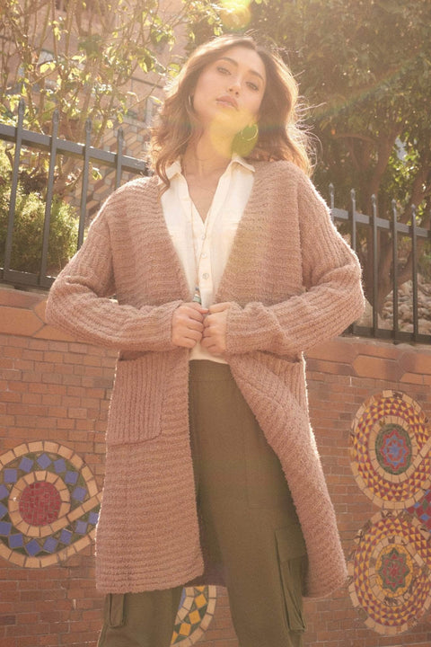 Into the Groove Ribbed Knit Pocket Cardigan - ShopPromesa