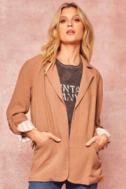 Clever Girl Open-Front Roll-Up Boyfriend Blazer - ShopPromesa