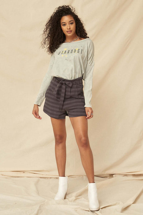 Raise the Bar Striped Pleat-Front Belted Shorts - ShopPromesa