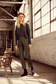 Crossing the Line Cropped Plaid Belted Pants