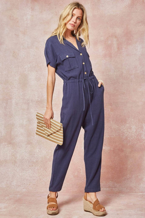 On the Moove Drawstring Pocket Jumpsuit - ShopPromesa