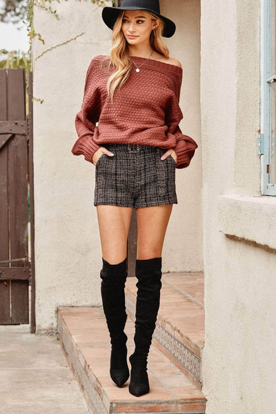 Madison Ave Belted Plaid Tweed Shorts - ShopPromesa