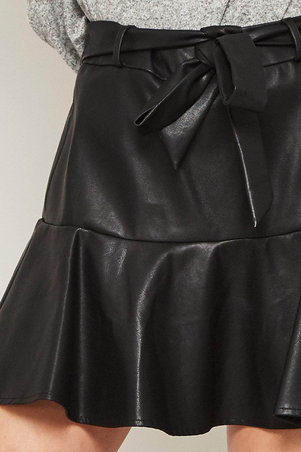 Flirt Alert Belted Vegan Leather Ruffle Skort - ShopPromesa
