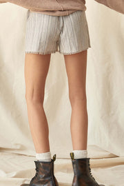 On the Line Pinstripe Raw-Edge Pleated Shorts - ShopPromesa