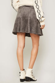 Total Flirt Vegan Suede Mini Skater Skirt - ShopPromesa