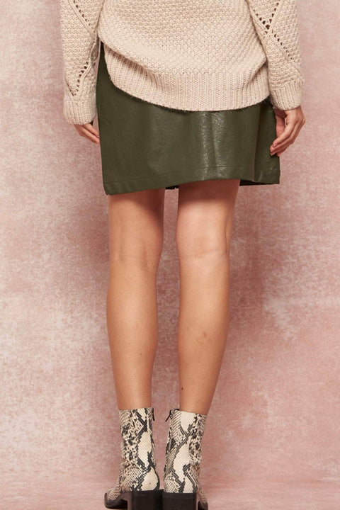 Faux Show Vegan Leather and Suede Mini Skirt - ShopPromesa