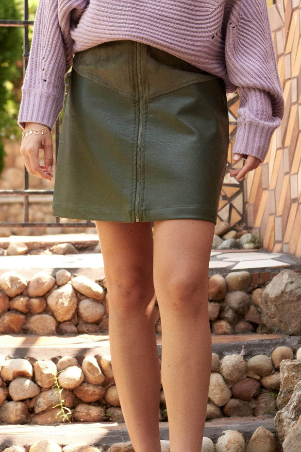 Faux Show Vegan Leather and Suede Mini Skirt