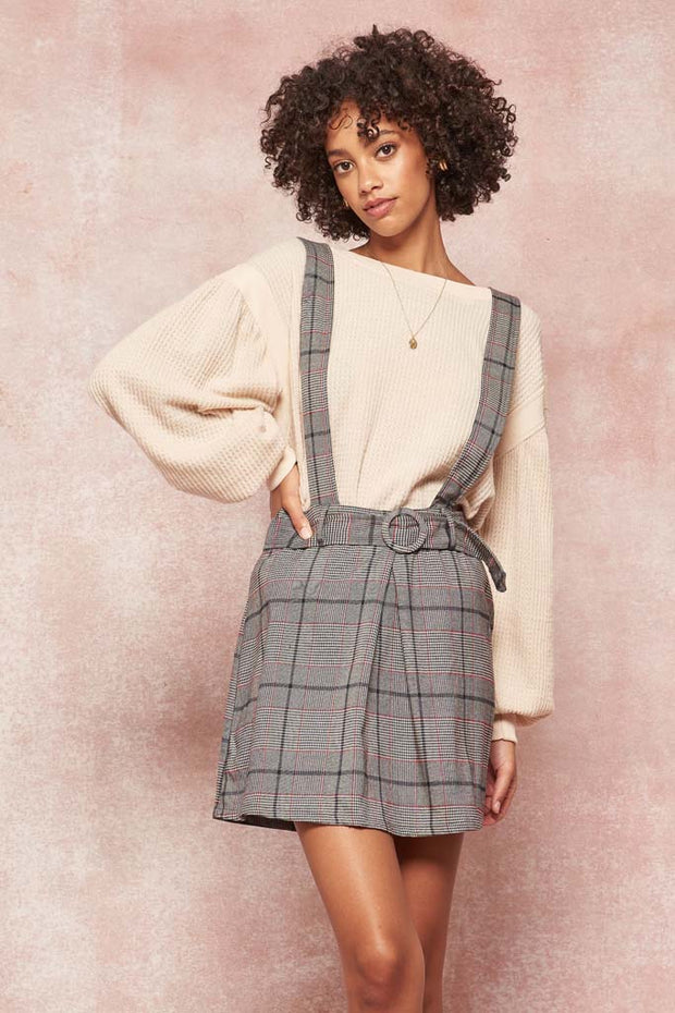 Geek Chic Belted Plaid Suspender Mini Skirt