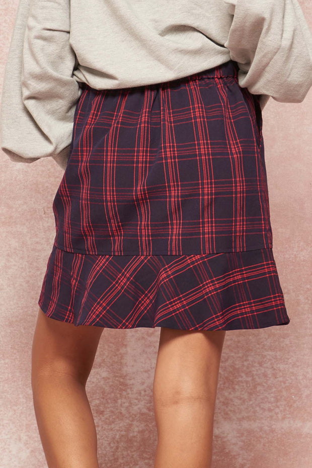Plaid as I Wanna Be Ruffle-Hem Mini Skirt