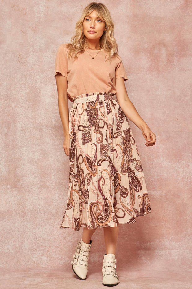 Flaunt and Flourish Paisley Accordion Pleated Midi Skirt