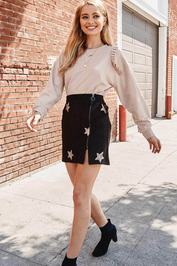 Seeing Stars Embroidered Faux Suede Mini Skirt - ShopPromesa