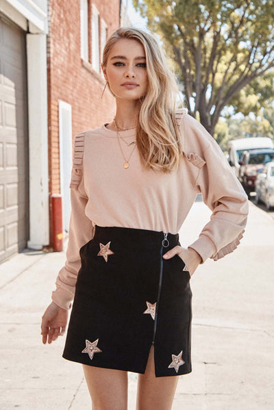 Seeing Stars Embroidered Faux Suede Mini Skirt