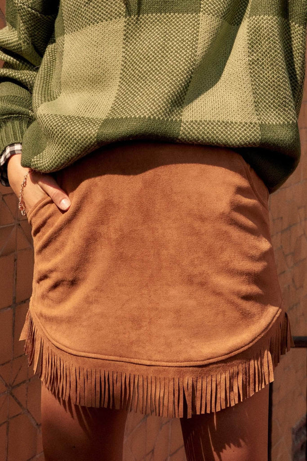 Calamity Jane Vegan Suede Fringe Mini Skirt - ShopPromesa