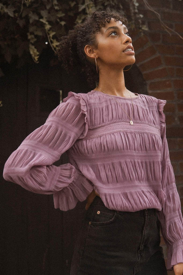 Beautiful Dreamer Pleated Ruffle-Trim Top - ShopPromesa