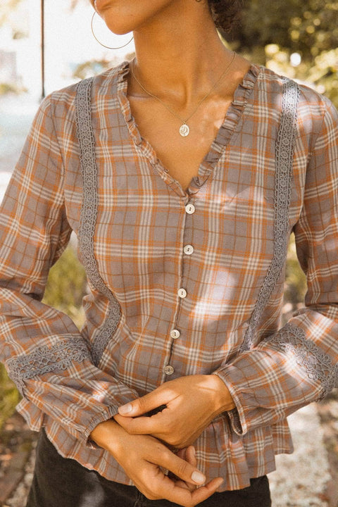 Plum Creek Ruffled Plaid Prairie Top - ShopPromesa