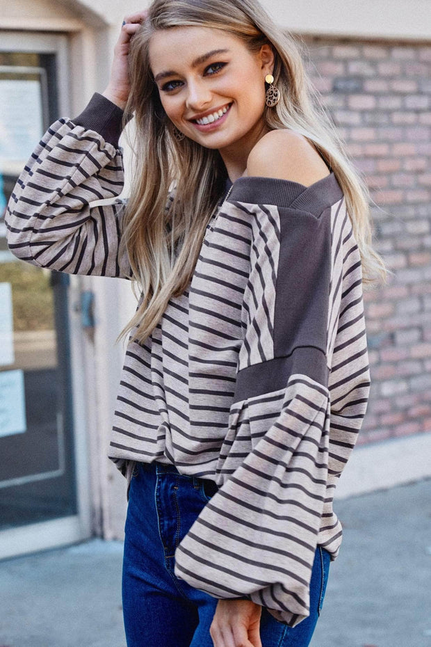 Believe the Stripe Bishop-Sleeve Sweatshirt - ShopPromesa