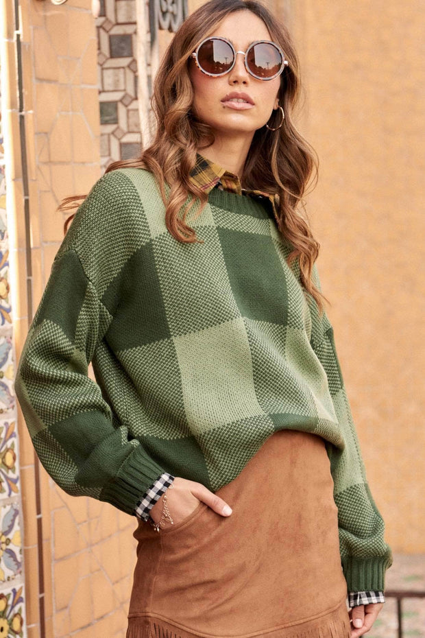 Checkered Past Plaid Knit Sweater - ShopPromesa