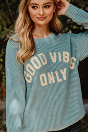 Good Vibes Chenille Applique Graphic Sweater - ShopPromesa