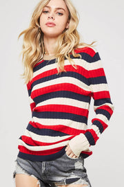 Cross Country Striped Ribbed Knit Sweater - ShopPromesa