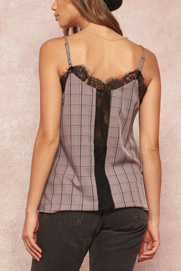 Square One Lace-Trimmed Plaid Cami Top