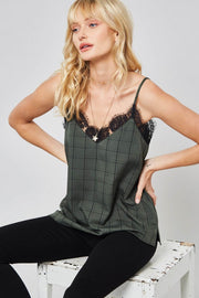 Square One Lace-Trimmed Plaid Cami Top - ShopPromesa