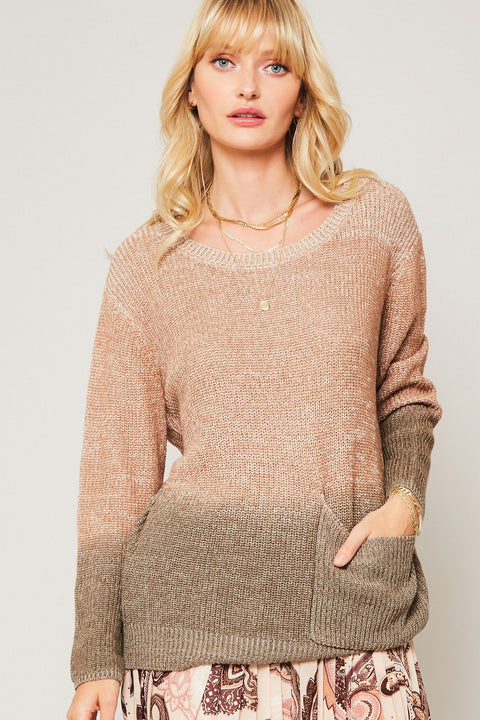Not Fade Away Ombre Pocket Sweater - ShopPromesa