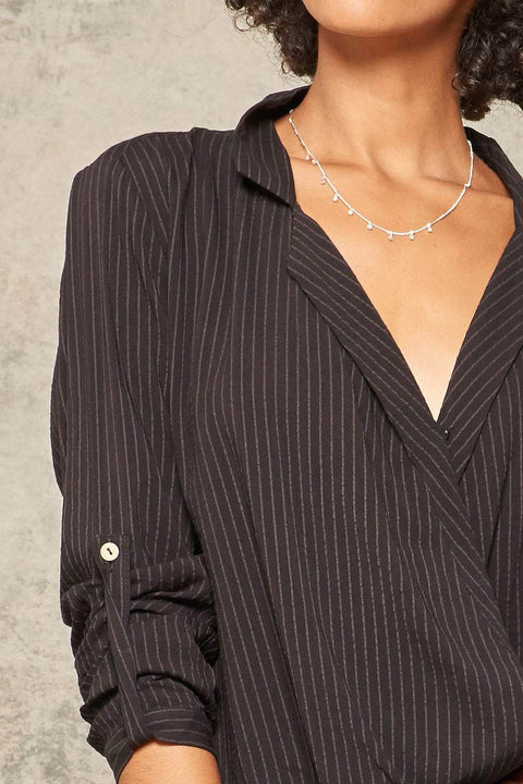 Elevator Pitch Pinstripe Roll-Up Surplice Shirt - ShopPromesa