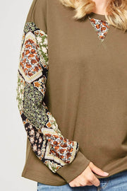 Beaux Jardins Quilted Floral-Sleeve Sweatshirt - ShopPromesa