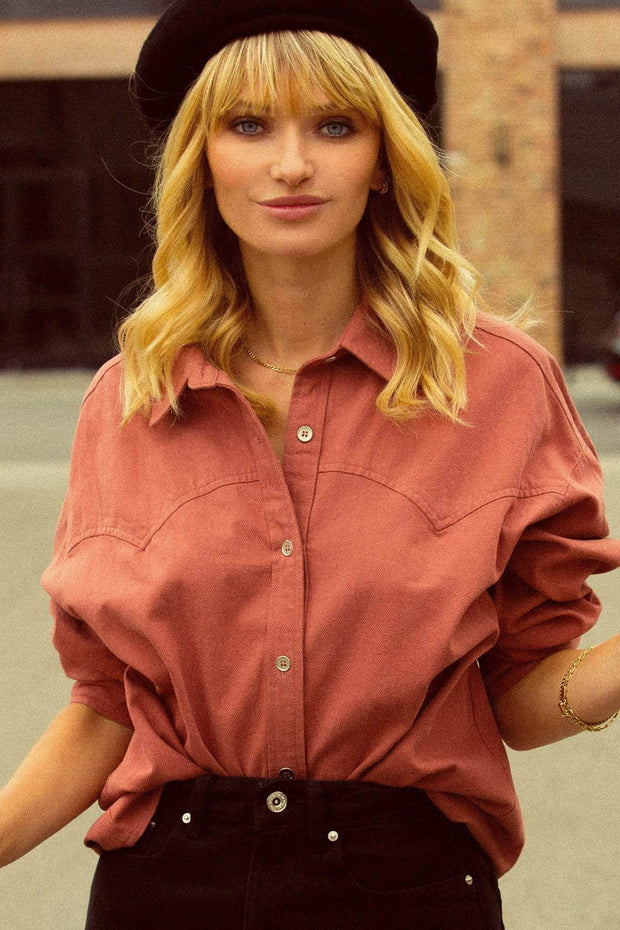 Country Roads Oversized Button-Down Western Shirt - ShopPromesa