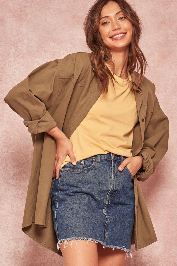 Country Roads Oversized Button-Down Western Shirt