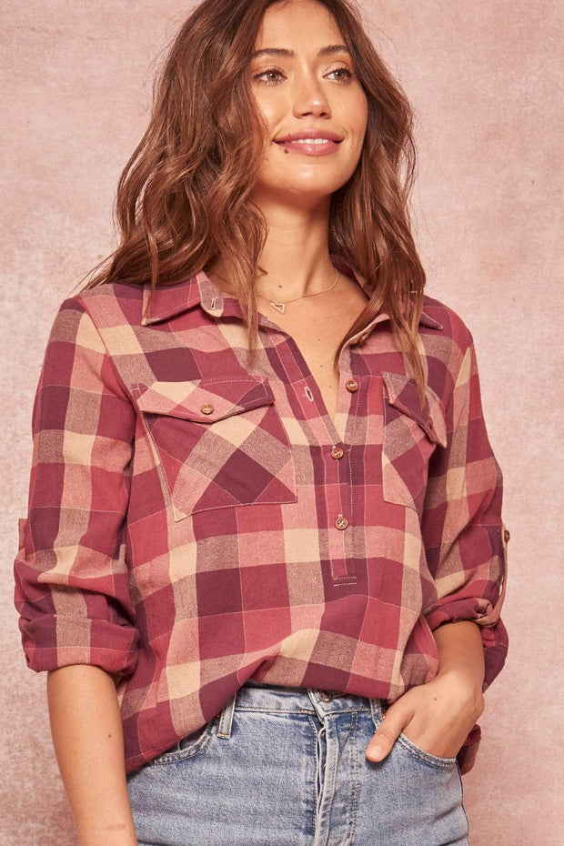 Big Timber Plaid Henley Roll-Up Shirt