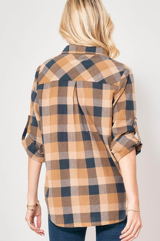 Big Timber Plaid Henley Roll-Up Shirt - ShopPromesa