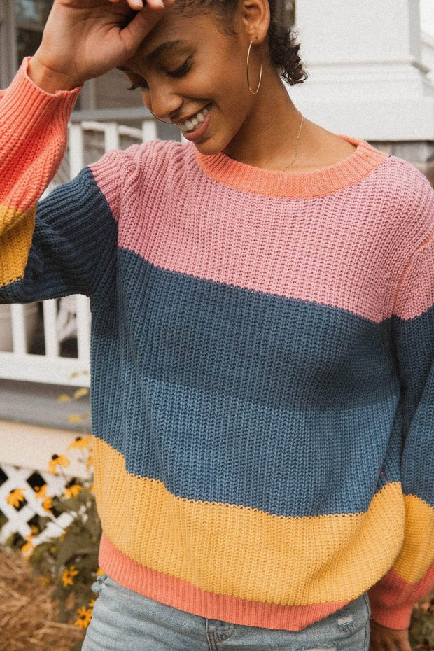 Candy Land Colorbock Stripe Knit Sweater - ShopPromesa