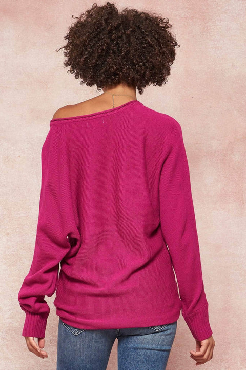 Seams to Me V-Neck Exposed Seam Sweater