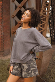 Jam Session Stone-Washed High-Low Sweatshirt - ShopPromesa