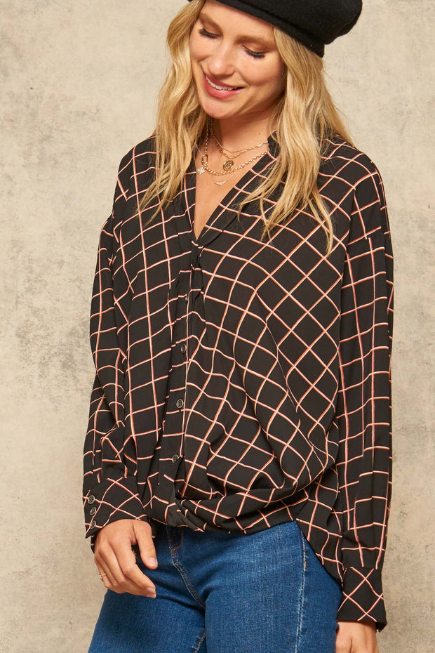 Fair and Square Plaid Gathered Shirt