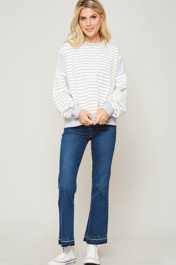 Comfort Zone Striped Colorblock Sweatshirt - ShopPromesa