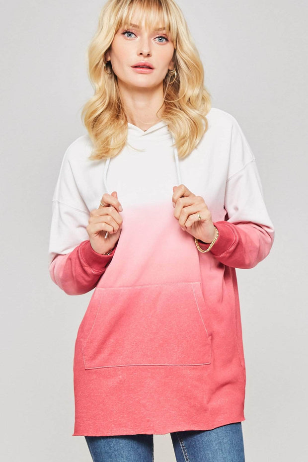 Good for Hue Ombre Raw-Hem Kangaroo Hoodie - ShopPromesa
