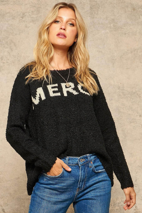 Mercy Textured Knit Graphic Sweater