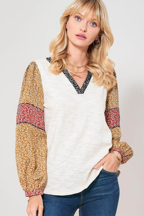 Road to Somewhere Floral-Sleeve Peasant Top - ShopPromesa
