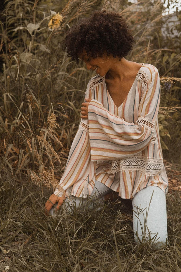 Free to Be Striped Bell-Sleeve Peasant Top - ShopPromesa
