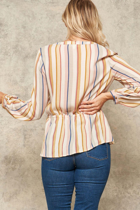 Barbary Lane Striped Peplum Peasant Top