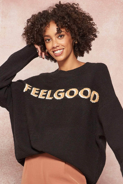Feel Good Oversized Graphic Knit Sweater