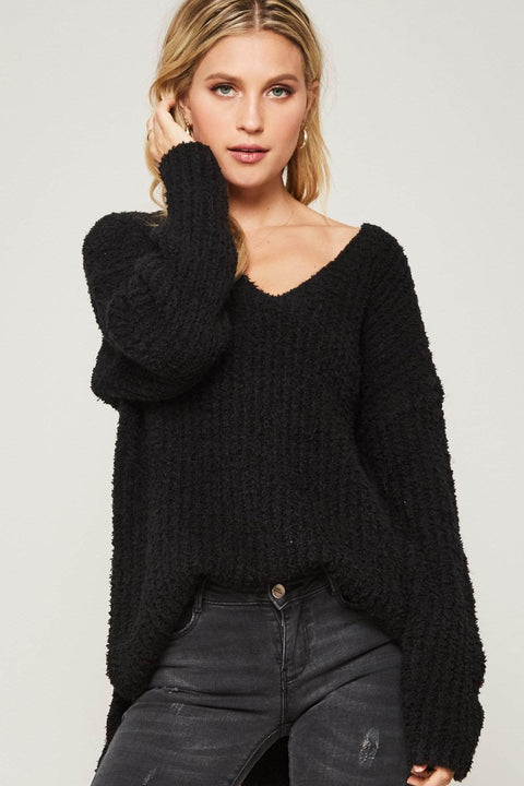 Blurred Lines Textured Ribbed Knit Sweater - ShopPromesa