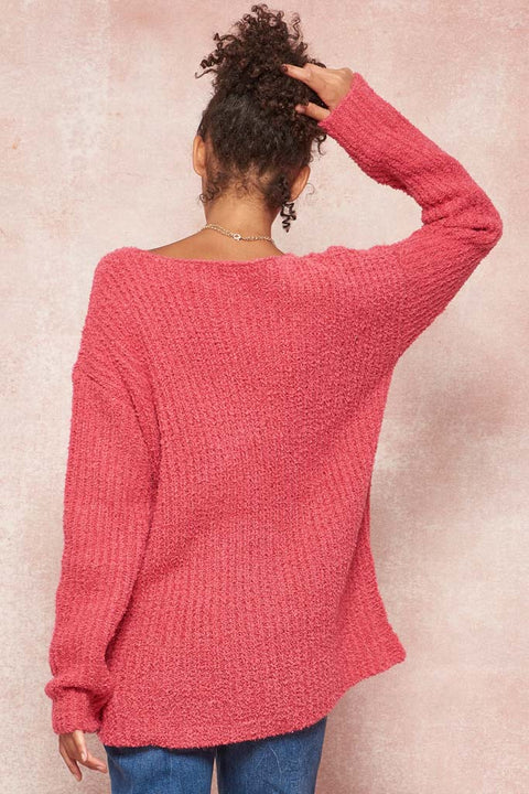 Blurred Lines Textured Ribbed Knit Sweater