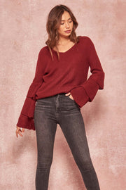 Ring My Belle Ruffle Sleeve V-Neck Sweater